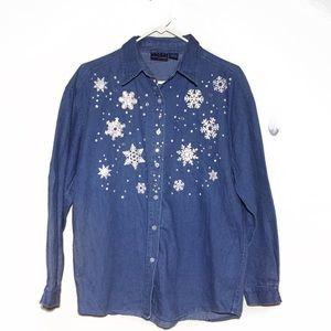 Tops - Chambray Snowflake Appliqués Button Down Shirt L